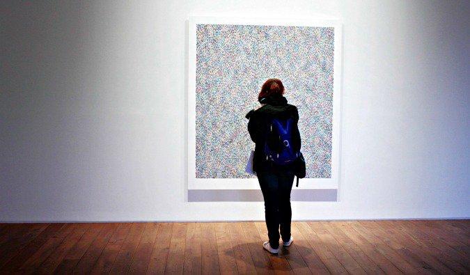 browsing art galleries in London