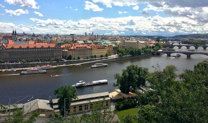 a view of prague from letenske sady park in prague