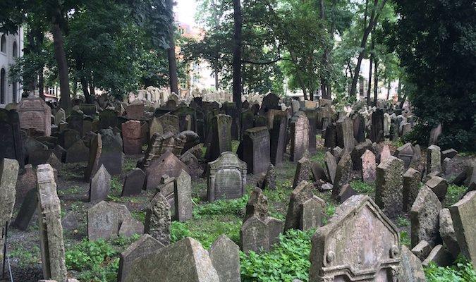 headstones in the jewish cemetery in prague