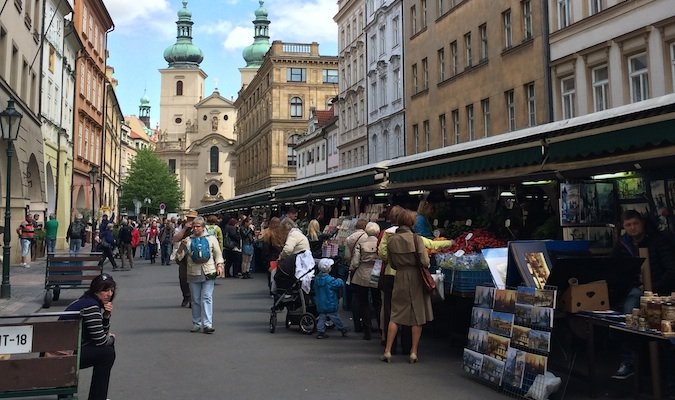 a market in the city center of Prague