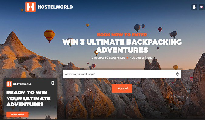Hostelworld advertisement for traveling people