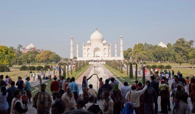 a crowd at the taj mahal