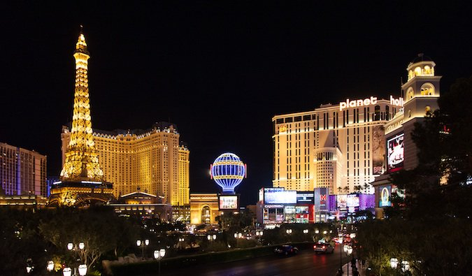 the glamorous hotels and casinos of the las vegas strip