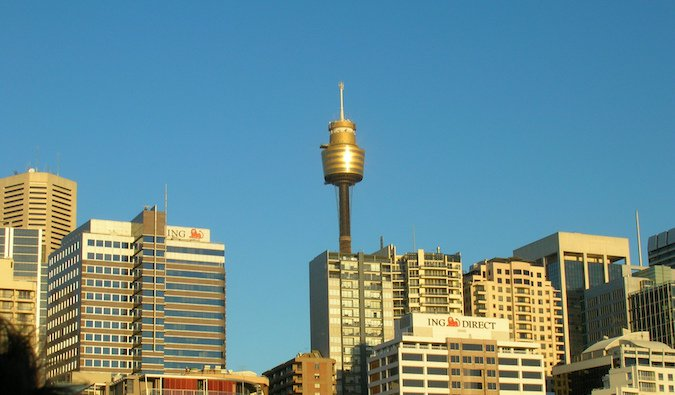 Sydney Tower Skywalk photo against a blue sky