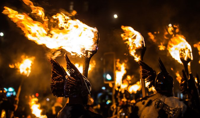 The torchlight procession led by vikings in Scotland