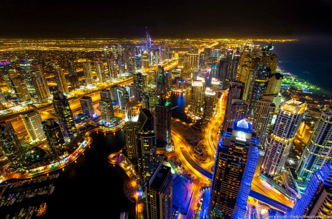 Picture of the Dubai marina night skyline