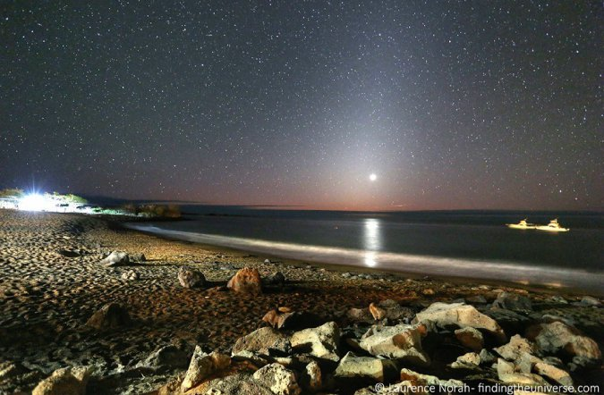 Photograph of venus setting across Floreana, in the Galapagos Islands