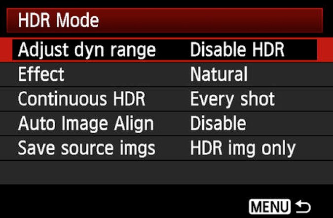 HDR mode menu options on a gopro hero
