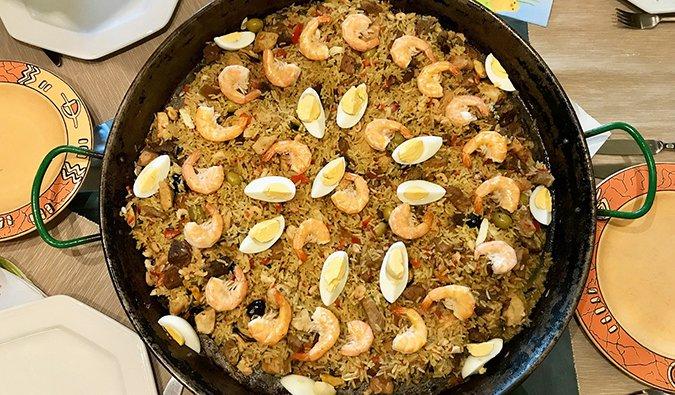 Paella, a traditional Spanish dish