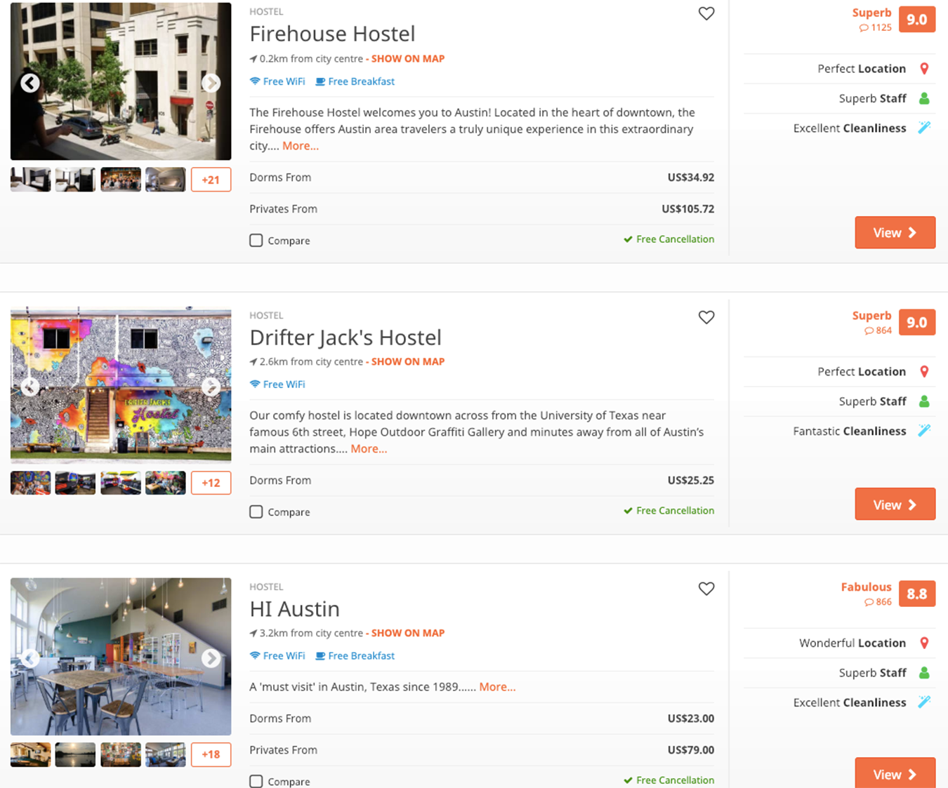 hostel search listings for Austin, Texas