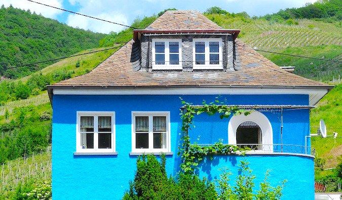 bright blue villa