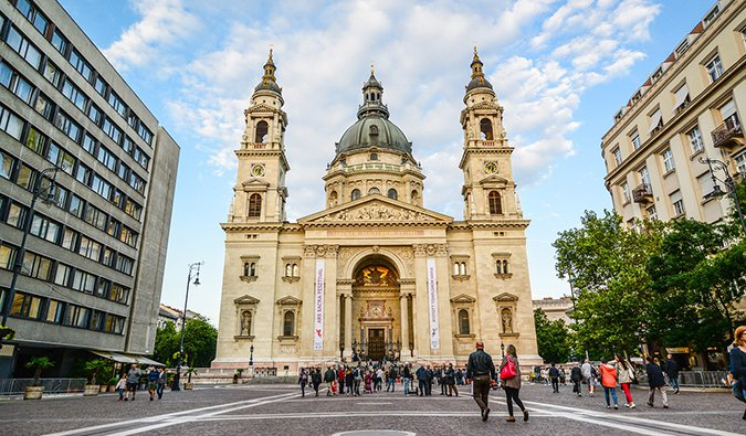 a historic church and square in Budapest