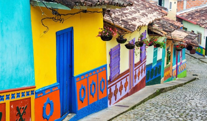 The colorful and bright buildings of a narrow street in Bogota, Colombia