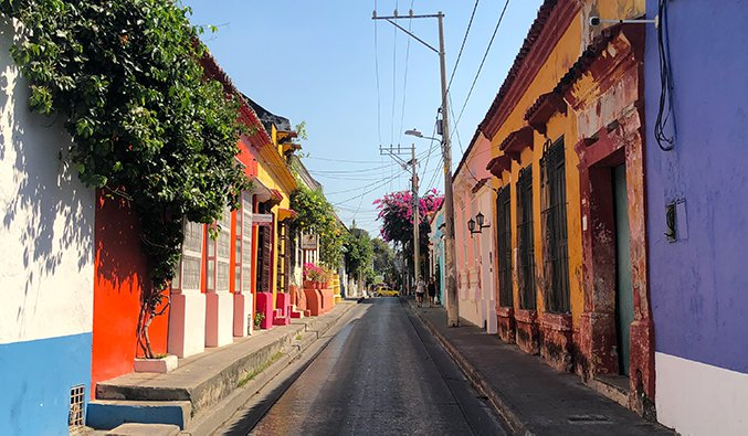 a colorful street in Cartagena