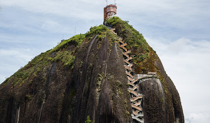 the Rock of Guatapé with its staircase leading to the top