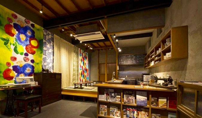 The interior of the Sheena and Ippei hostel in Tokyo, Japan
