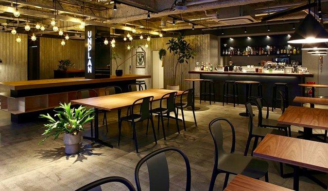 The stylish lounge at Unplan Kagurazaka in Tokyo, Japan