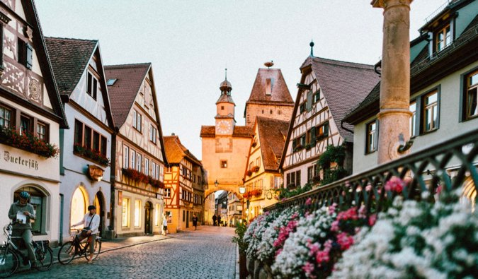 A charming narrow medieval street in the heart of Europe