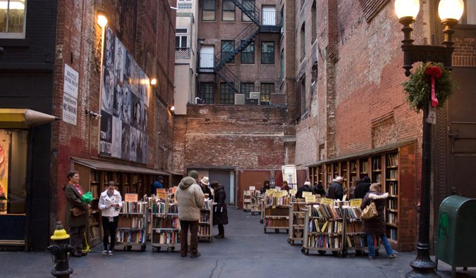tables of used books at brattle book shop in boston