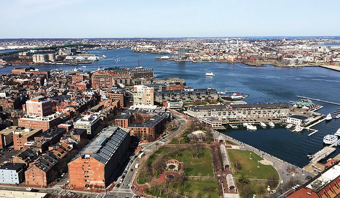 An aerial view of the north end of Boston, Massachusetts