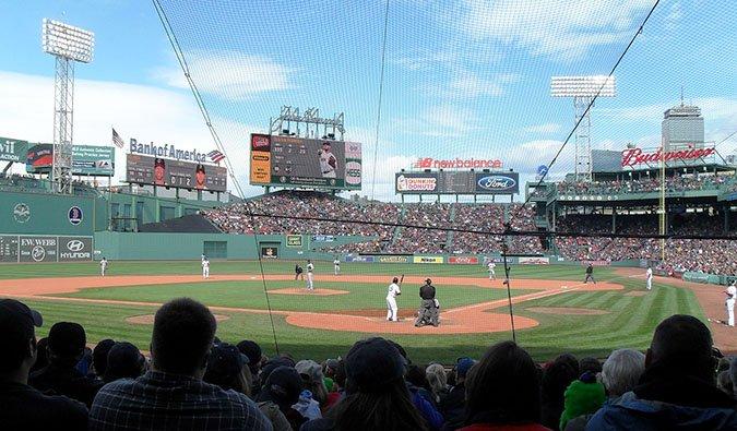 watching a baseball game in Boston