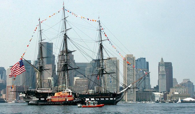 the USS Constitution in the Boston harbour