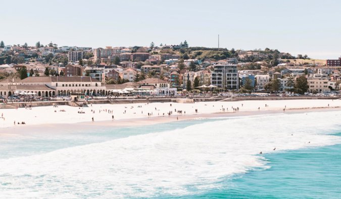People relaxing and enjoying the weather at Bondi Beach, Australia