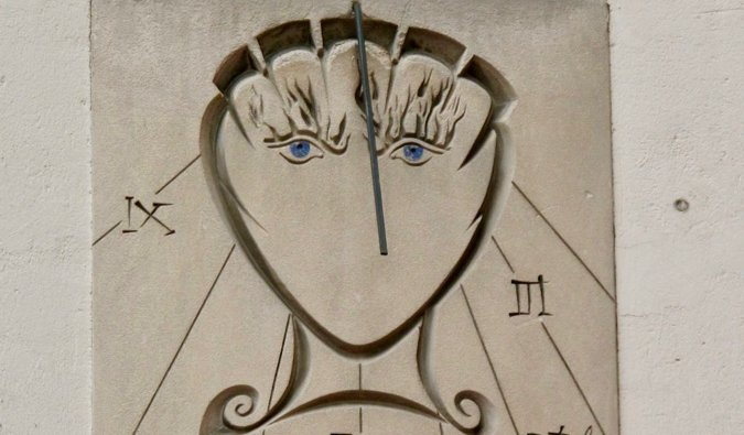 An up-close shot of the Salvador Dali sundial in Paris, France