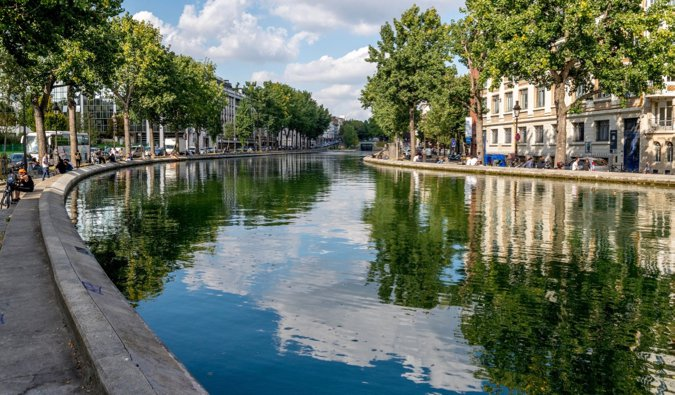 The calm waters of the Canal Saint-Martin in Paris, France