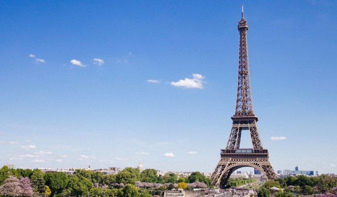 A Eiffel Tower on a bright, sunny day in Paris, France