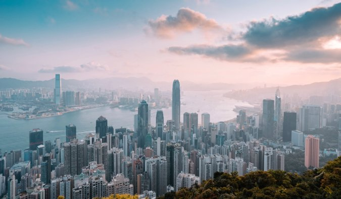 The skyline of the busy and bustling city of Hong Kong