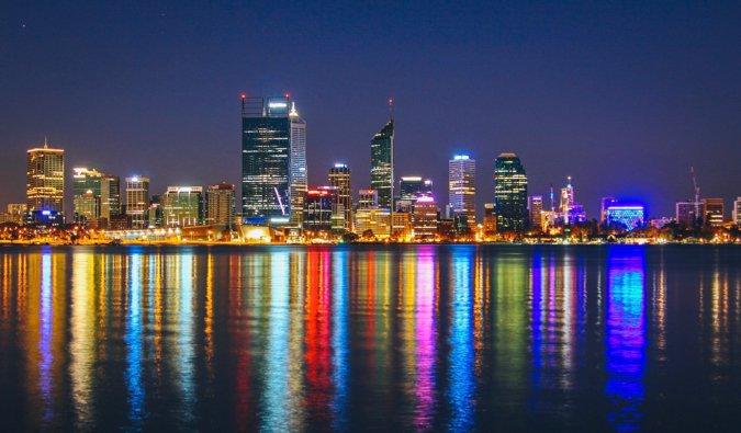 The skyline of Perth, Australia lit up at night