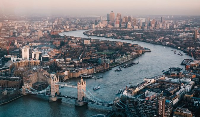 The view overlooking the city of London and the river, including many of its famous attractions