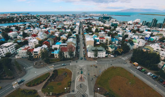 A birds-eye view of the Icelandic capital of Reykjavik as seen from the city's large church