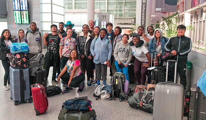 the FLYTE students at the airport leaving for Colombia