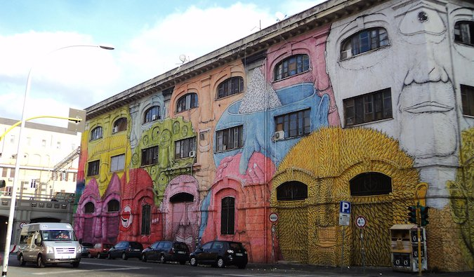 colorful street art in Ostiense, Rome; photo by Nicholas Frisardi (flickr:@123711915@N05)