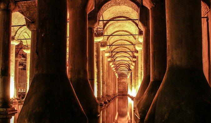 A long hallway down the Basilica Cistern in Istanbul