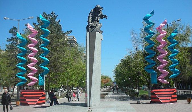 a statue in Karaganda