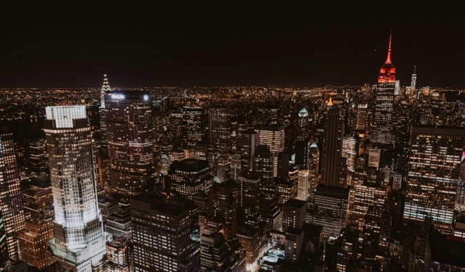 The view from the Top of the Rock at Rockefeller Center in New York City at night