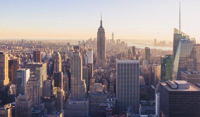 The busy skyline of Manhattan