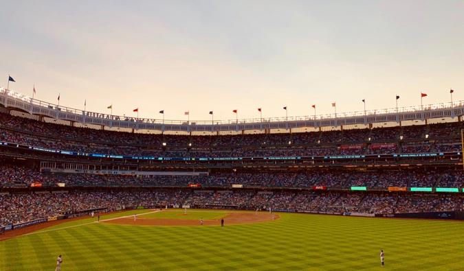 The New York Yankees playing baseball at Yankee Stadium in New York City