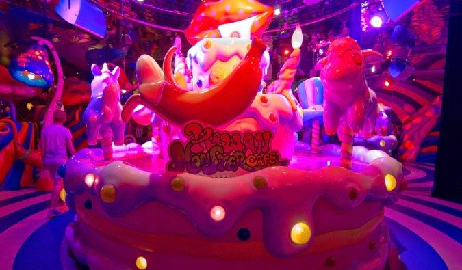 The bright interior of the Kawaii Harajuku Monster Cafe in Tokyo, Japan