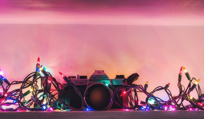 a camera in christmas lights