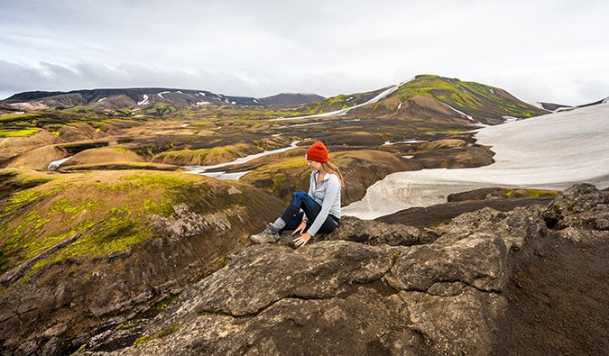 Kristin Addis hiking in Iceland