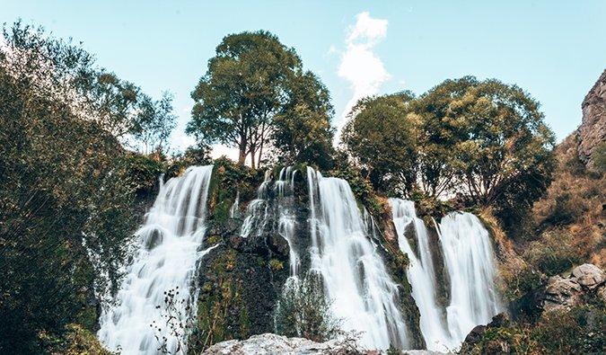 water flowing over a beautiful waterfall in Armenia