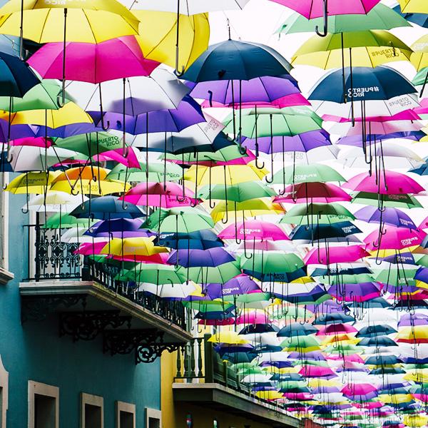 Umbrellas above an alley in San Juan, Puerto Rico
