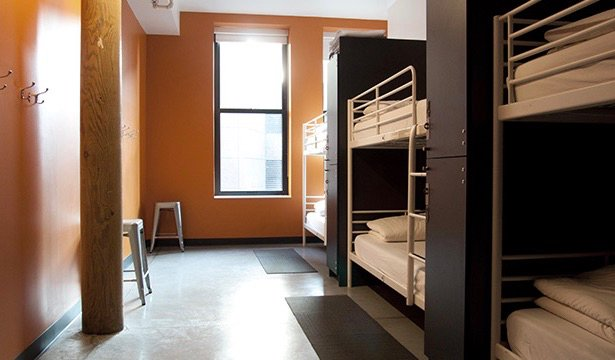 A clean and comfortable dorm room in the HI Boston hostel