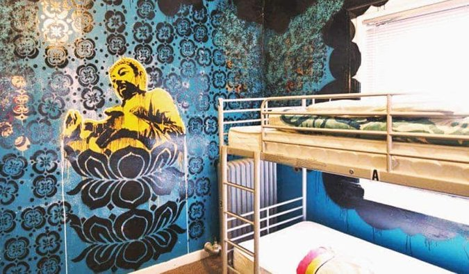 One of the many cool locally-painted murals in City Hostel, Seattle