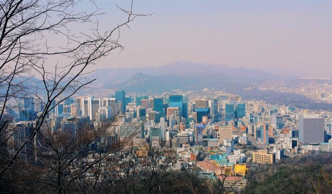 The view overlooking the city of Seoul, Korea with tree branches in the foreground