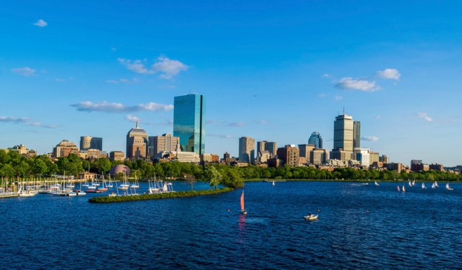 The Boston skyline as seen from the river on a bright summer day
